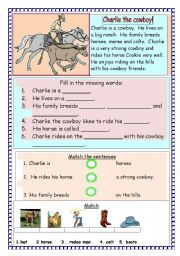 English Worksheets: charlie the cowboy