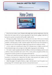 English Worksheet: Test - Home cinema