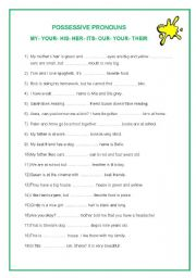 English Worksheet: possessive pronouns: my, your, his, her, its, our, your, their