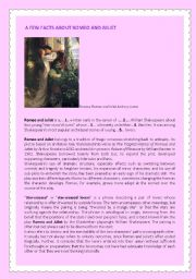 A few Facts About Romeo and Juliet By Shakespeare, READING comprehension + KEY