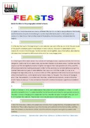 English Worksheets: Feasts