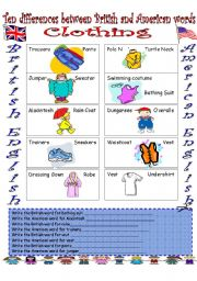 English Worksheet: British English vs. American English (2)...Clothing