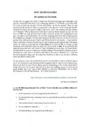 English Worksheet: New Technologies: My opinion on Facebook