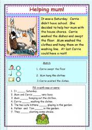English Worksheets: helping mum