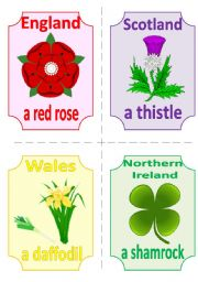 THE UK FLASHCARDS 1 - SYMBOLS and FLAGS, 2 pages, 8 cards