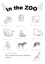animals in the zoo esl worksheet by zapja. Black Bedroom Furniture Sets. Home Design Ideas