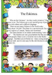 English Worksheets: The Eskimos