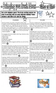 English Worksheet: Bringing you fresh ideas Warmers and fillers