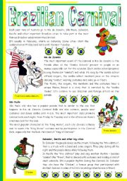 Brazilian Carnival – text, pictures, comprehension, video links [short texts + 3 tasks] KEYS INCLUDED {{4 pages)) ***editable