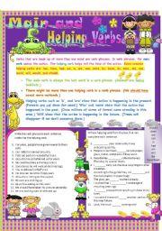 Printables Main And Helping Verbs Worksheet main and helping verbs worksheets for grade 4 archives english exercises verbs