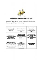 English Worksheets: Creative Writing: Tic Tac Toe