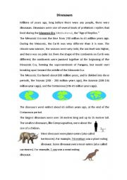 English Worksheets: Dinosaurs