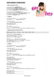 English Worksheets: FIREWORK song by katy perry
