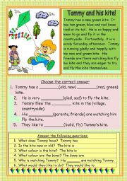 English Worksheets: Tommy and his kite