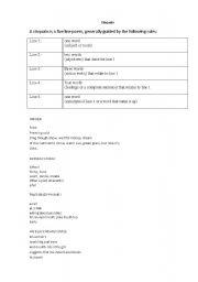 English Worksheets: Cinquain