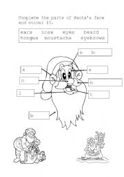 English Worksheets: Santa�s face