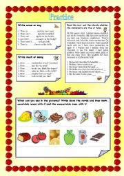 food and drink /revision/ (2 pages + editable + key)