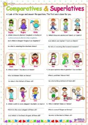 English Worksheet: Adjectives  -  Comparatives and Superlatives