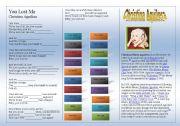 English Worksheets: SONG: Christina Aguilera YOU LOST ME