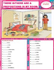 English Worksheets: TWO IN ONE SHEET(THERE IS/THERE ARE&PREPOSITIONS OF PLACE.)