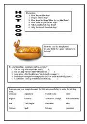 English Worksheets: The hot dog story