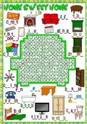 English Worksheet: Home sweet home - WORDSEARCH *B&W included*
