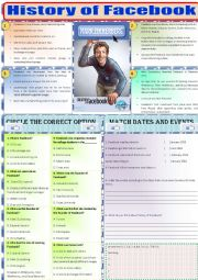 English Worksheet: Reading-history of facebook