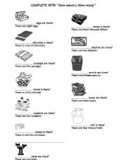 English Worksheets: HOW MUCH / HOW MANY