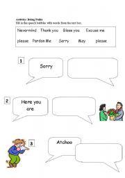 English Worksheets: Being Polite