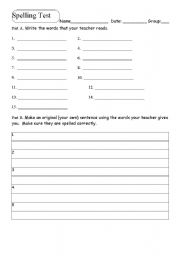 free printable spelling test template -
