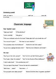 English Worksheets: Introducing yourself+classroom language elementary