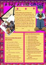 English Worksheet: A DAY AT THE  CIRCUS