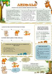 English Worksheet: READING TEXTS ABOUT ANIMALS