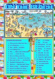 English Worksheet: on the beach
