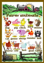 English Worksheets: Farm animals (pictionary)