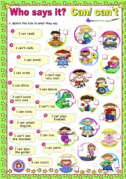 English Worksheet: Who says it?  -  Modal Verbs (1)  -   Can/ Can´t
