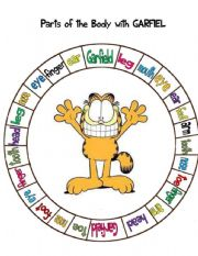 English Worksheet: Parts of the body with Garfield- Spin game