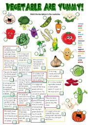 English Worksheet: Vegetables are yummy! (B&W + KEY included)