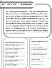 English Worksheets: reading comprehension. Jane�s favourite programmes.