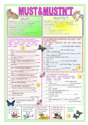 English Worksheet: Must & Mustn´t + Key