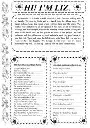 English Worksheets: READING COMPREHENSION. HI1 I´M LIZ.