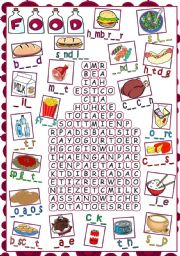 Food - WORDSEARCH *B&W included*