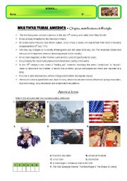 English worksheet: MULTICULTURAL AMERICA