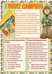 English Worksheets: I WENT CAMPING
