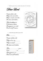 English Worksheets: A prayer activity