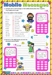 English Worksheet: Mobile Messages (2)  -  decoding / writing