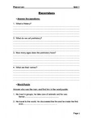 English Worksheet: Prehistory Exercises