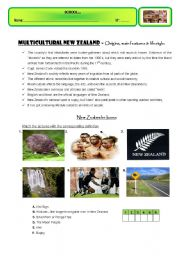 English Worksheet: MULTICULTURAL NEW ZEALAND