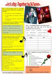 English Worksheet: SONG TO PRACTICE: GERUNDS & PRESENT PARTICIPLE; PHRASES WITH MAKE & LET THROUGH EXERCISES WITH FOCUS ON LISTENING, GRAMMAR & SPEAKING  + KEY INCLUDED.