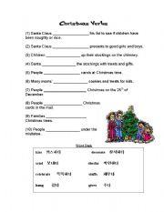 English worksheets Christmas Verbs